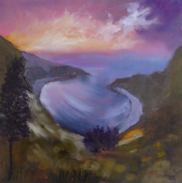 Sunset at Lulworth Cove. Original art by Christine Ingram