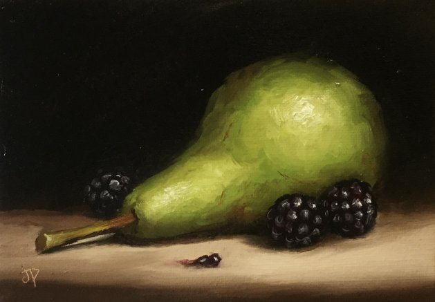 Pear with blackberries. Original art by Jane Palmer