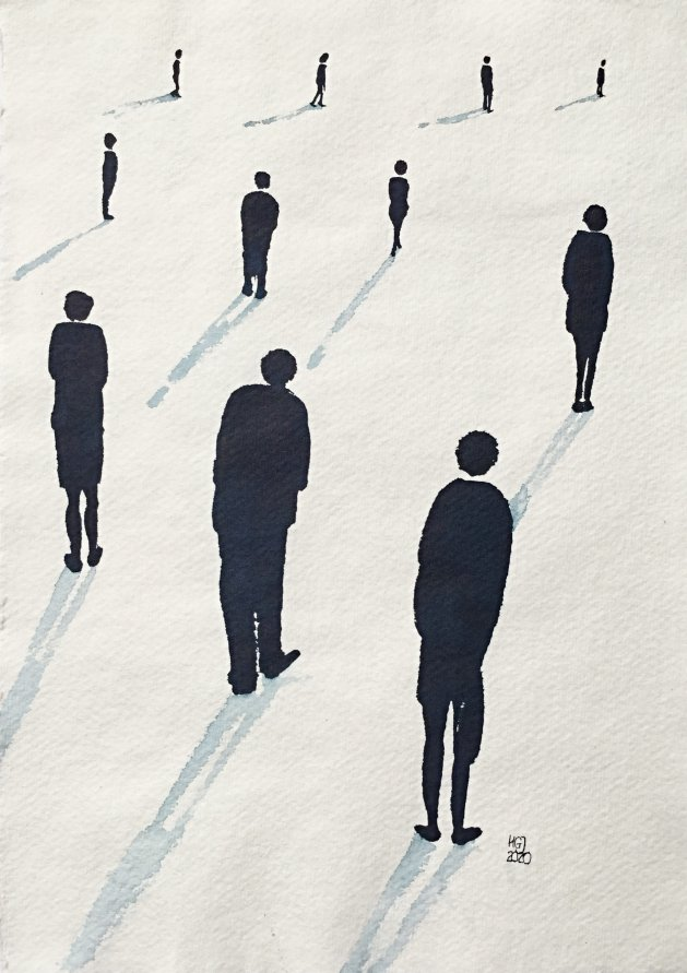 Social Distancing (xi) A4. Original art by Hilary Garnock-Jones