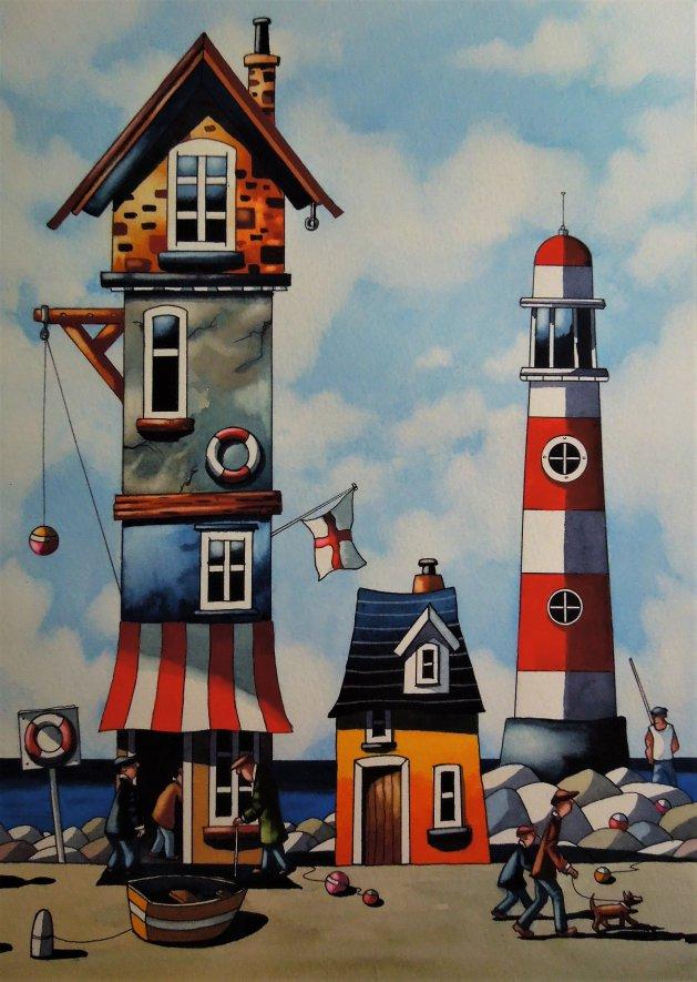 A Cornish Port. Original art by Paul Kiernan