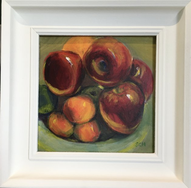Shiny Red Apples. Original art by Sarah Nesbitt