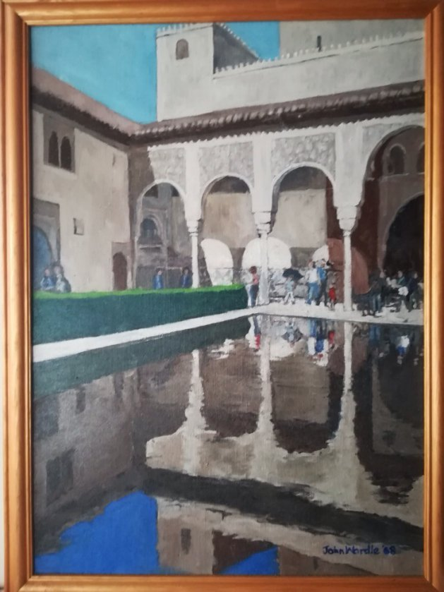 A view of the Alhambra. Original art by John Wardle