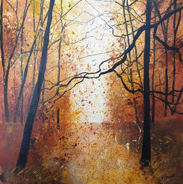 Shades of Autumn woodland. Original art by Teresa Tanner
