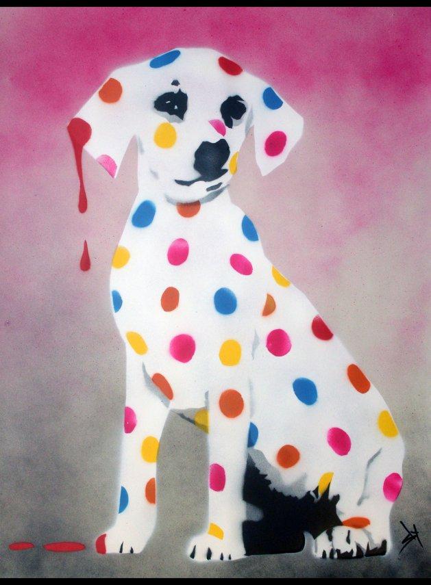 Damien\'s dotty, spotty, puppy dawg (Pink, on paper) +FREE poem. Original art by Juan Sly