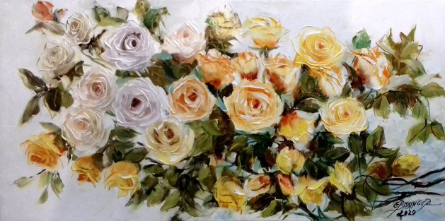 Yellow and white roses, Bissinger. Original art by Elena Bissinger