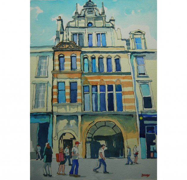 91 Buchanan Street, Glasgow.. Original art by Randle Drury