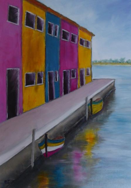 Colours of Burano Venice. Original art by Christine Ingram