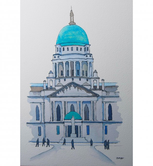 City Hall Belfast. Original art by Randle Drury