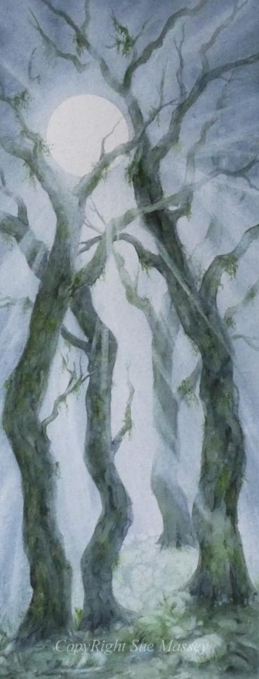 The Moonbeam trees.. Original art by Sue Massey