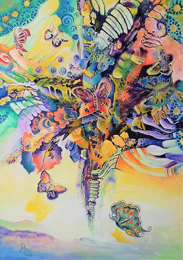 Shrub lace butterflies. Original art by Mariana Oros