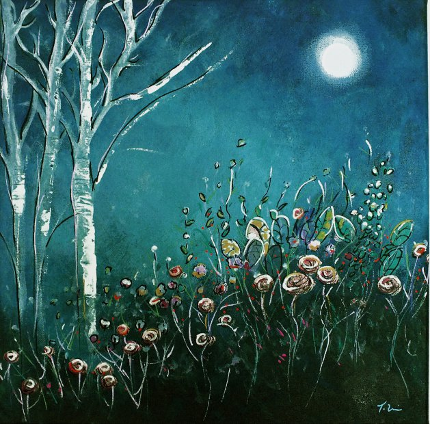 Forest Flowers by Moonlight. Original art by Tracey Unwin