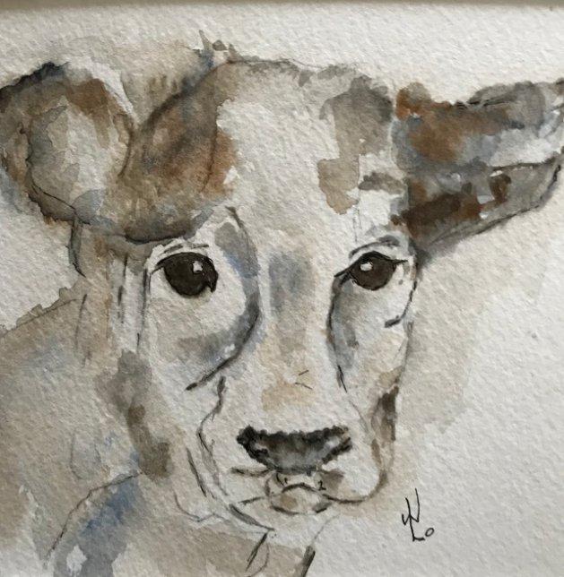 Clara the Cow. Original art by Wendy Lloyd