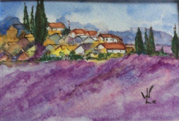 Provence Lavender fields. Original art by Wendy Lloyd