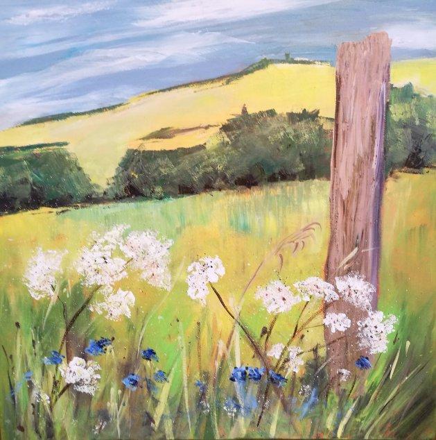 Achillea at St Margaret's Bay. Original art by Nikki Griffith