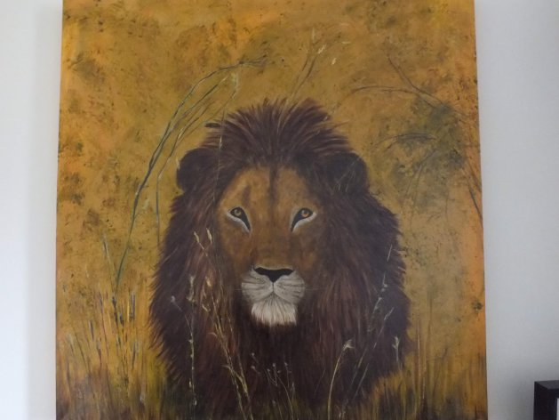 130 lion in waiting. Original art by Irene Gelling