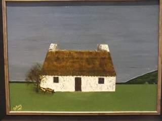 1049 Manx cottage with wheelbarrow. Original art by Irene Gelling