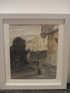Lone lampost on the Trent & Mersey. Original art by Irene Gelling