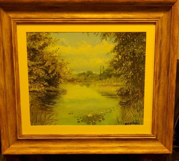 Lilies and Lakes. Original art by Sue Mcauley
