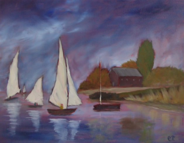 Bucklers Hard Beaulieu. Original art by Christine Ingram