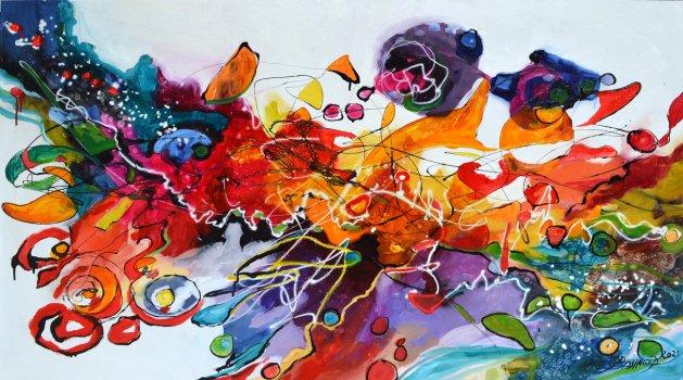 Sky earrings,abstract Bissinger. Original art by Elena Bissinger