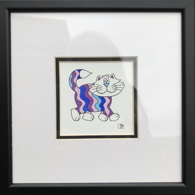 Colourful Kitty II. Original art by Jane Brookshaw