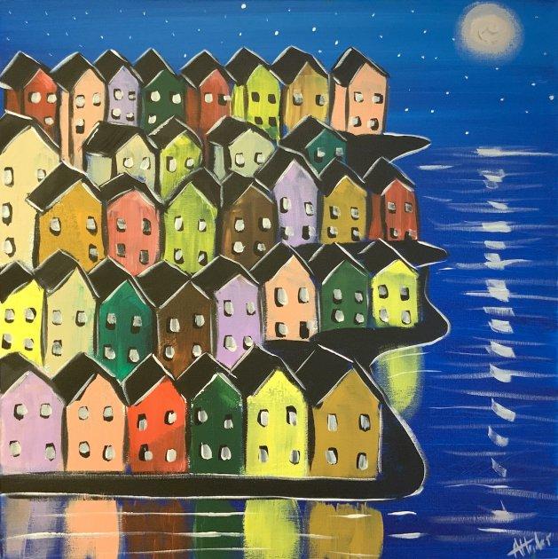 Colourful rainbow Houses. Original art by Aisha Haider