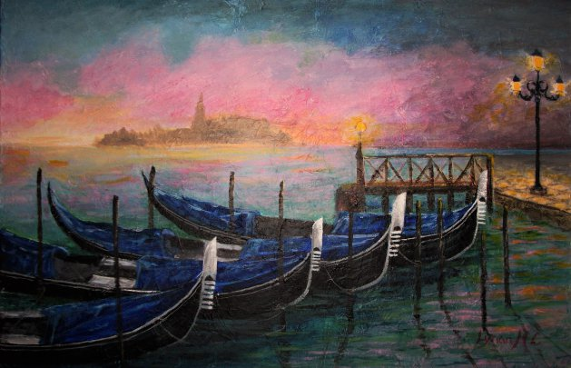 EVENING IN VENICE. Original art by Lynda Cockshott