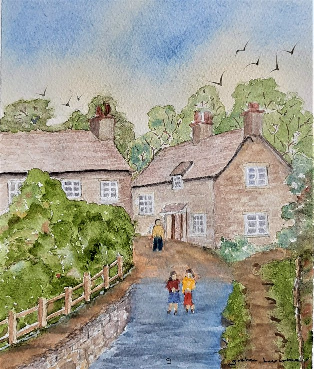 Lacock Ford. Original art by Graham Luscombe