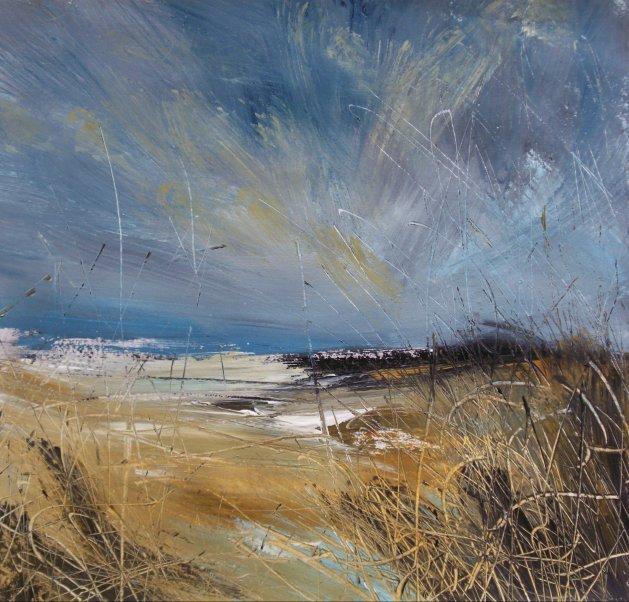 Coastal Grasses, Semi Abstract Landscape Art. Original Acrylic Painting.. Original art by Rachel Keenan