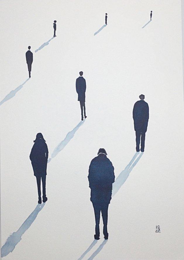 Social Distancing (xxxiii) A3. Original art by Hilary Garnock-Jones