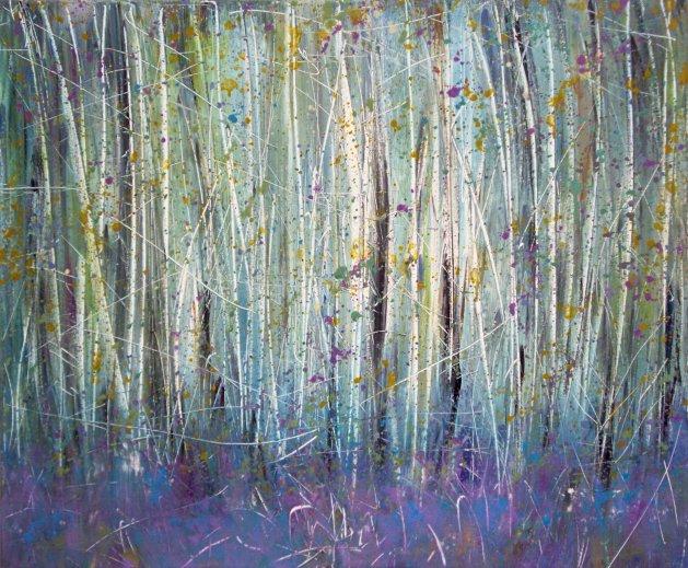 Bluebells And Birch Woods / Original Landscape Painting.. Original art by Rachel Keenan