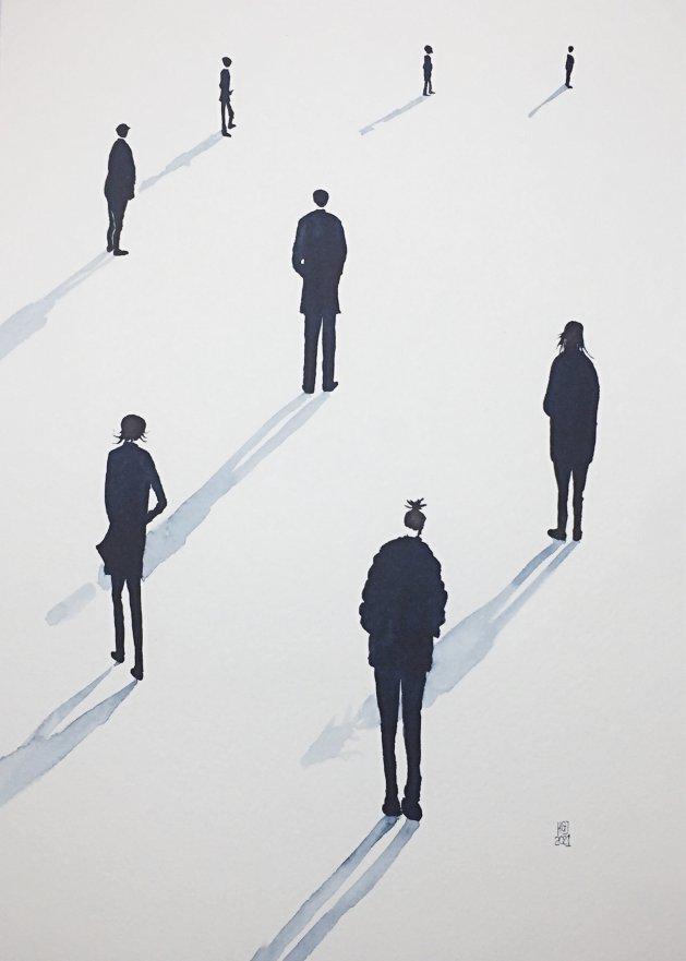 Social Distancing (xxxviii) A3. Original art by Hilary Garnock-Jones
