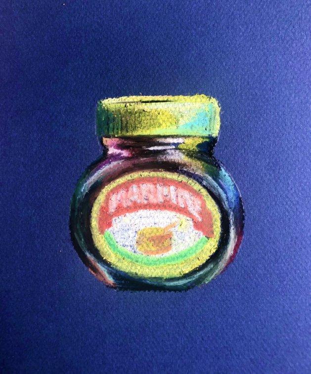 Marmite - oil pastel original. Original art by Lucy Beevor