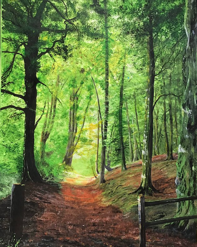 Reigate Hill in Surrey. Original art by Janet Blower