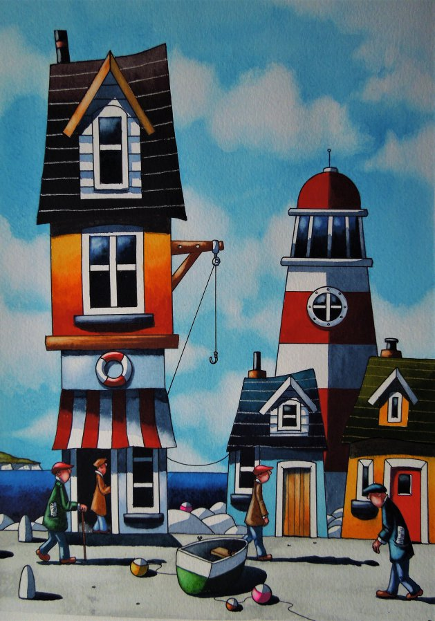 """ A Cornish Port "". Original art by Paul Kiernan"