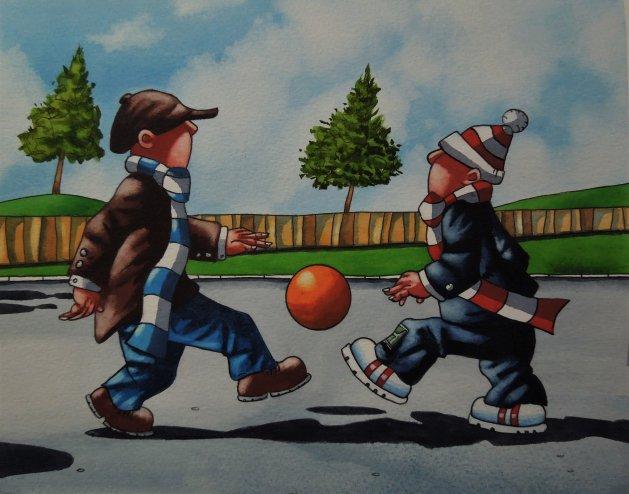 """ Football Mad "". Original art by Paul Kiernan"