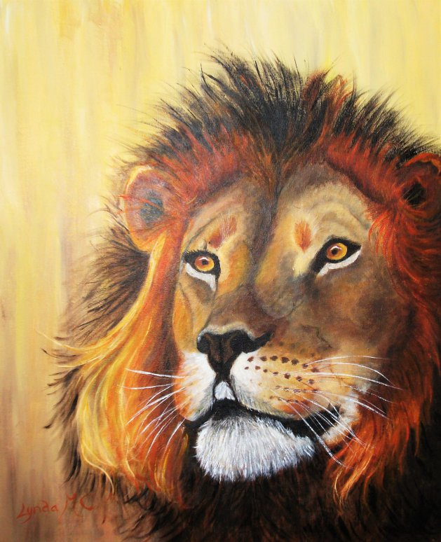 A LION KING. Original art by Lynda Cockshott