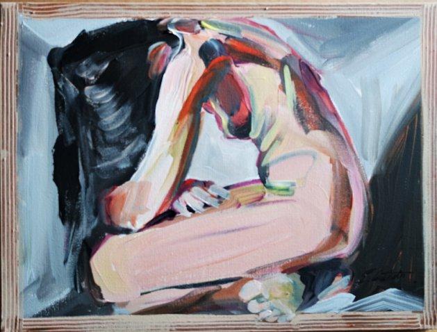 Nude in Box Self Isolate  550. Original art by Eraclis Aristidou