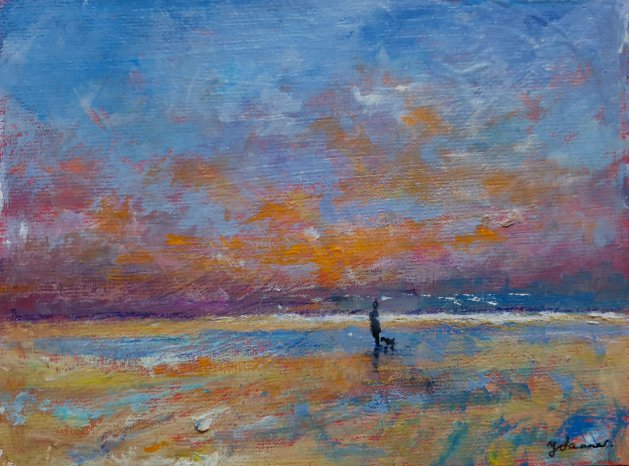 Shoreline Walk with the dog. Original art by Teresa Tanner