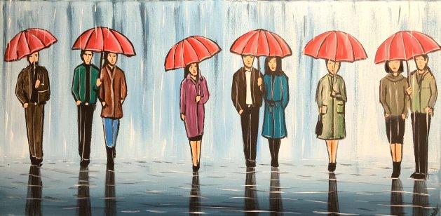Red Umbrellas. Original art by Aisha Haider