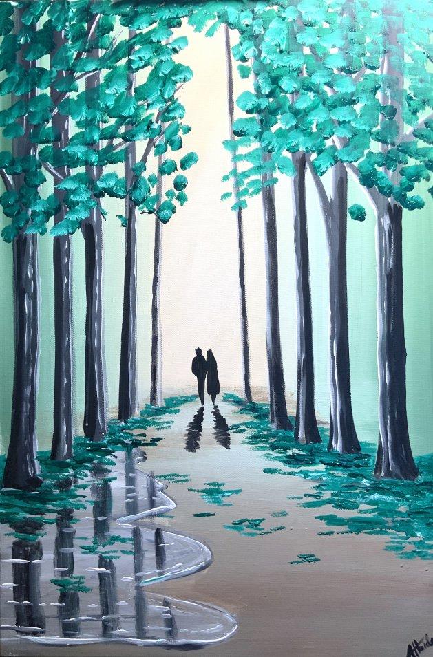 Forest Green Walk 5. Original art by Aisha Haider