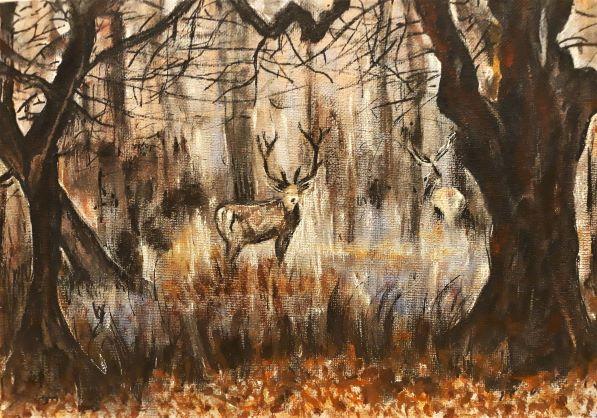 Stags in Mist. Original art by Della Hawkins