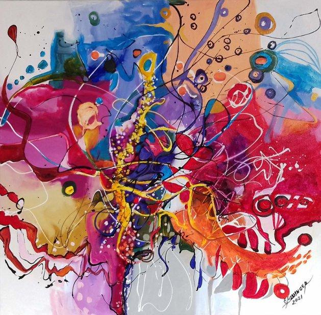 Cantec de privighetoare, abstract Bissinger. Original art by Elena Bissinger