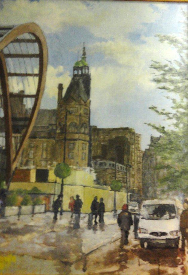 Towards Sheffield Town Hall. Original art by John Wardle