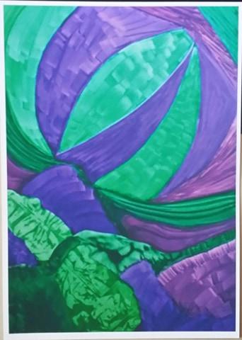 GREEN AND PURPLE PAINTING – A4 UNFRAMED PRINT OF MY ORIGINAL PAINTING + POEM. ORIGINAL ART DIRECT. Original art by Juliette Westbrook-Finch