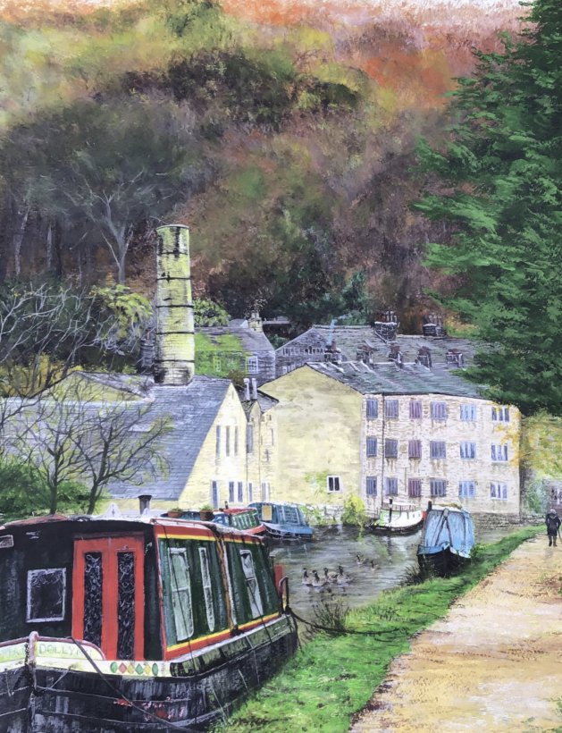 Hebden Bridge in Yorkshire. Original art by Janet Blower