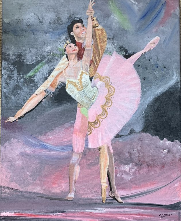 """Ballet with Pink Background"". Original art by Janet Welsby"