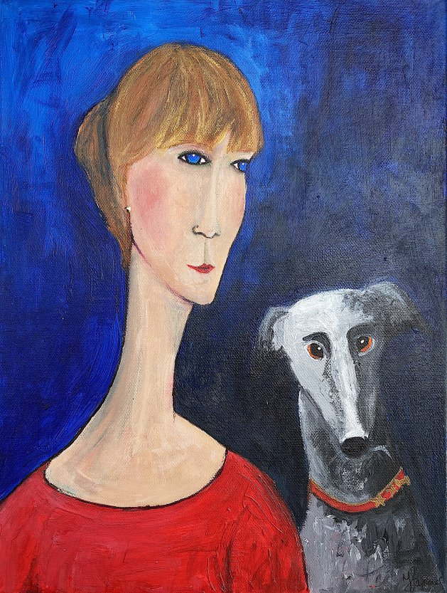 Woman Red Dress Grey Greyhound. Original art by Teresa Tanner