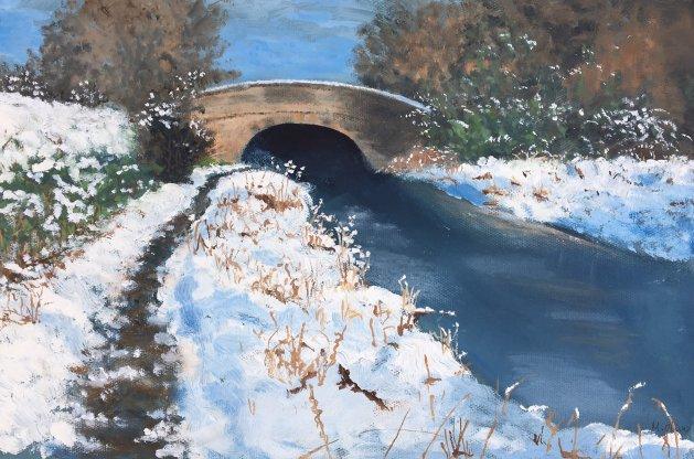 Canal Bridge Astbury. Original art by Mair Oliver