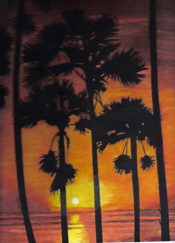 """Malaysian Sunset"". Original art by Janet Welsby"